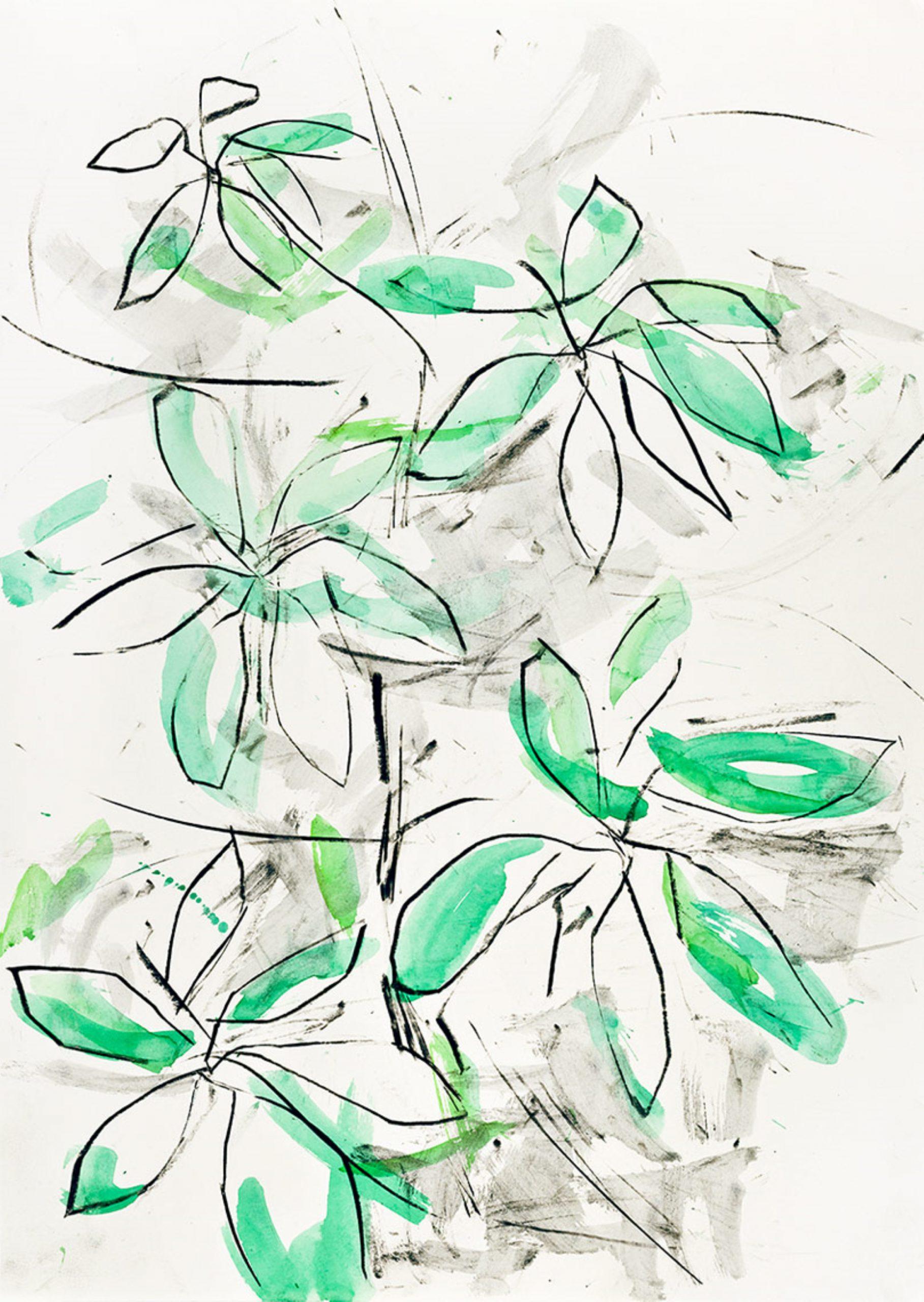 Zierliche, jedoch mit klarem Strich gezogene grün-schwarze Blumen
