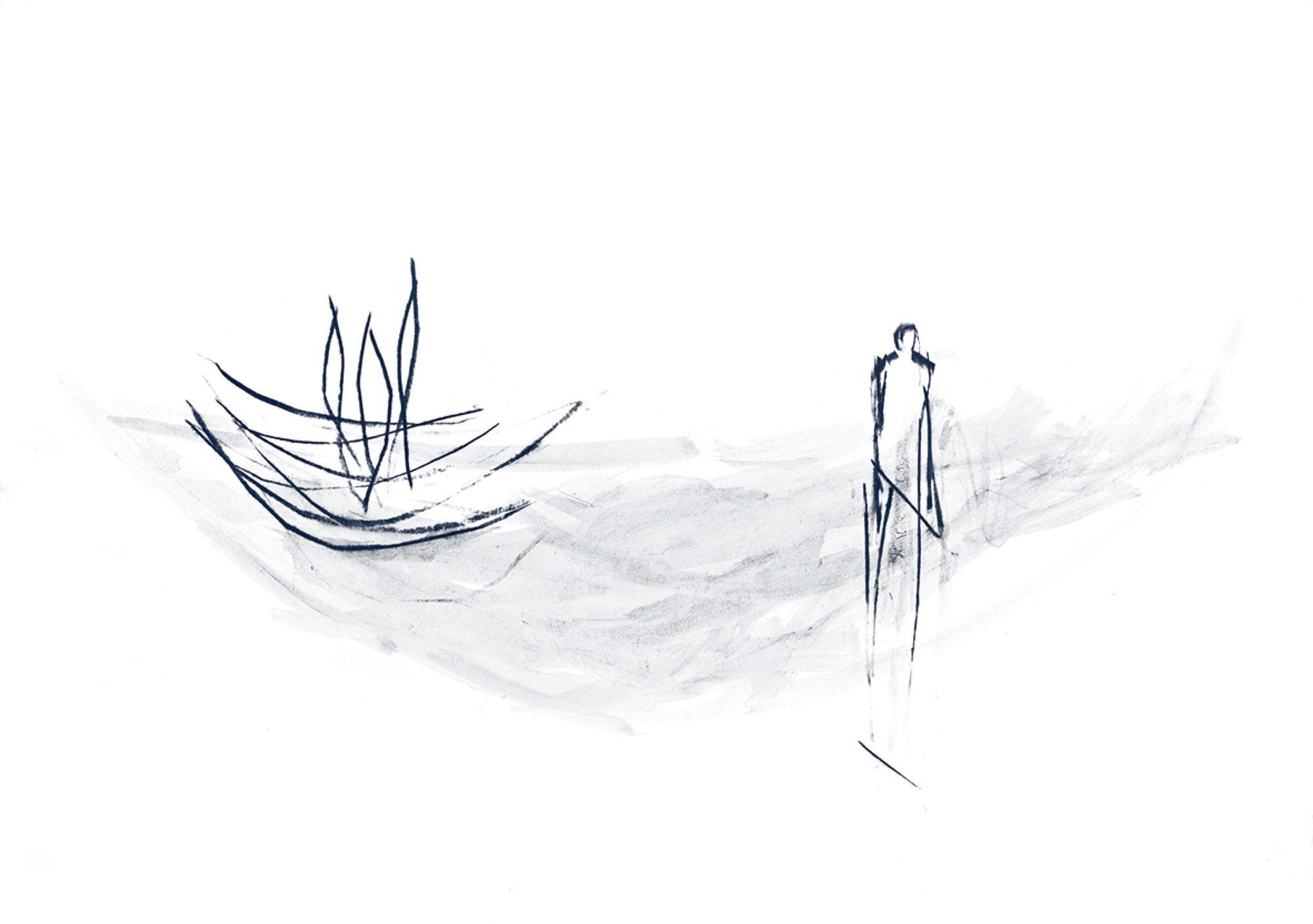 Figürlich-abstrakte Zeichnung in schwarz-weiß