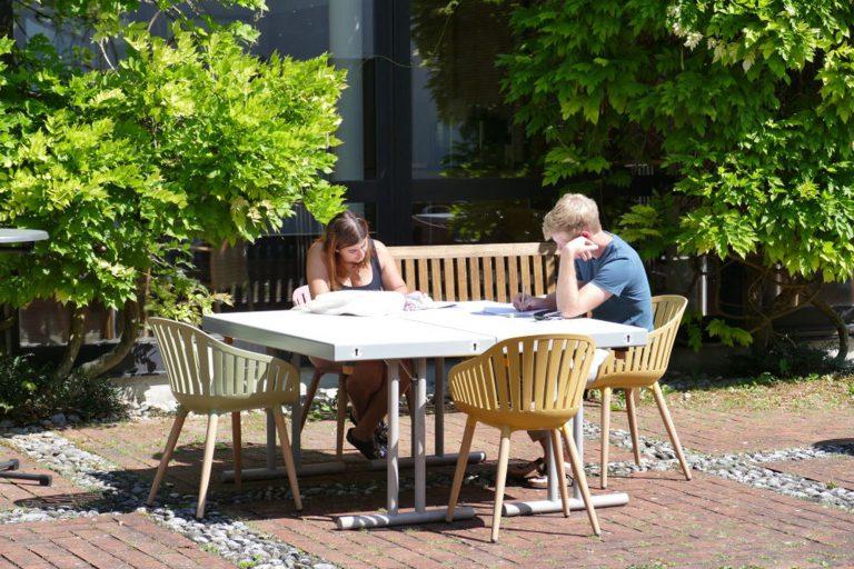 Teilnehmer beim Lernen im Hof bei schönem Wetter